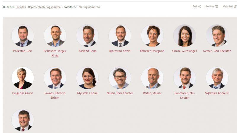 Bilde av medlemmer i næringskomiteen på Stortingen per 1. juni 2021
